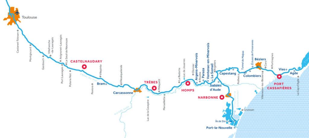 Czarter barek we Francji - Kanał Midi - mapa