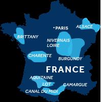 czarter barek we Francji - mapka regiony